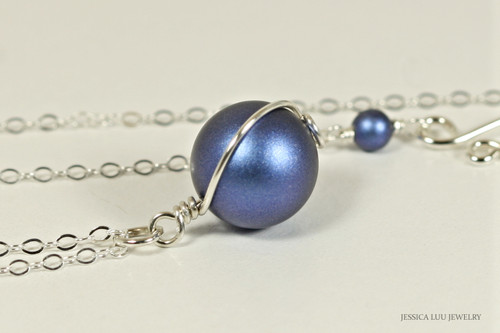 Sterling silver wire wrapped iridescent dark blue Swarovski pearl solitaire pendant on chain necklace handmade  by Jessica Luu Jewelry
