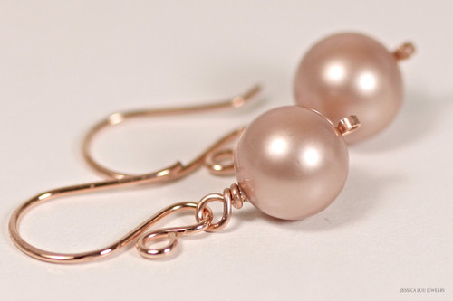 14K rose gold filled wire wrapped powder almond beige Swarovski pearl dangle earrings handmade by Jessica Luu Jewelry