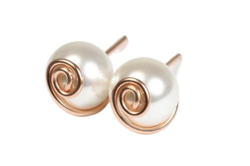 14K rose gold filled wire wrapped white Swarovski pearl stud earrings handmade by Jessica Luu Jewelry