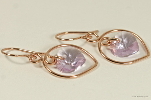 14K rose gold filled lavender violet Swarovski crystal heart dangle earrings handmade by Jessica Luu Jewelry