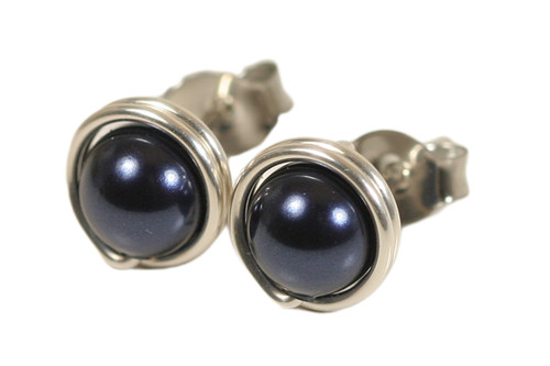 Sterling Silver Navy Blue Pearl Stud Earrings - Available in 2 Sizes and Other Metal Options