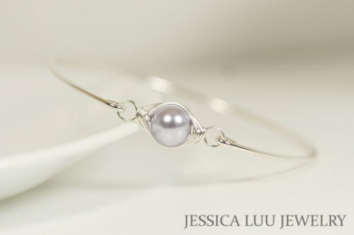 Sterling silver wire wrapped bangle bracelet with lavender Swarovski pearl handmade by Jessica Luu Jewelry