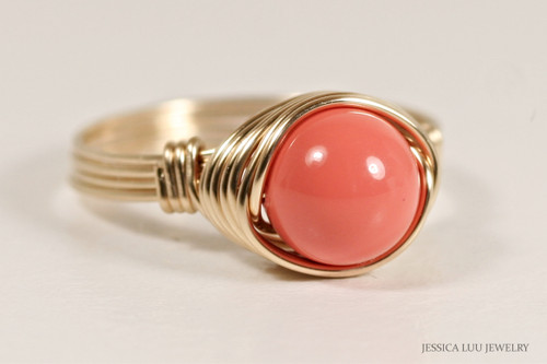 14K yellow gold filled wire wrapped orange coral Swarovski pearl solitaire ring handmade by Jessica Luu Jewelry
