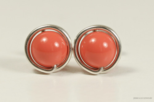 Sterling silver wire wrapped orange coral Swarovski pearl stud earrings handmade by Jessica Luu Jewelry
