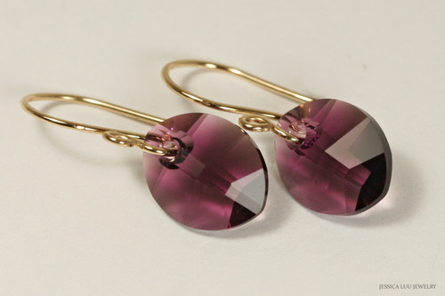 14K yellow gold filled amethyst purple Swarovski crystal leaf pendant dangle earrings handmade by Jessica Luu Jewelry