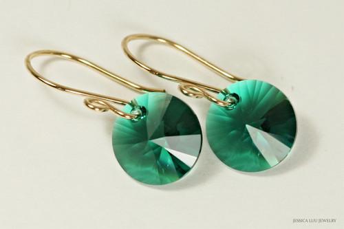 14K yellow gold filled emerald green Swarovski crystal rivoli dangle earrings handmade by Jessica Luu Jewelry