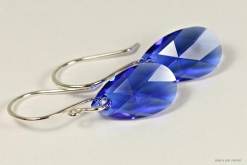 Sterling silver majestic cobalt blue Swarovski crystal pear shaped pendant dangle earrings handmade by Jessica Luu Jewelry