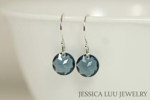 Sterling silver montana blue crystal classic cut pendant dangle earrings handmade by Jessica Luu Jewelry
