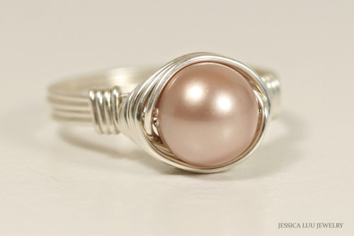 Sterling silver wire wrapped powder almond Swarovski pearl solitaire ring handmade by Jessica Luu Jewelry