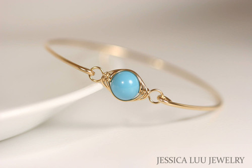 Handmade 14K yellow gold filled herringbone wire wrapped turquoise Swarovski pearl bangle bracelet