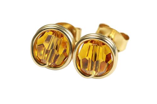 14K yellow gold filled wire wrapped orange topaz Swarovski crystal round stud earrings handmade by Jessica Luu Jewelry