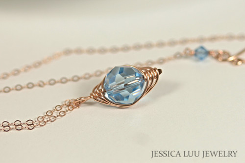 Rose Gold Aquamarine Swarovski Crystal Necklace - Available with Matching Earrings and Other Metal Choices