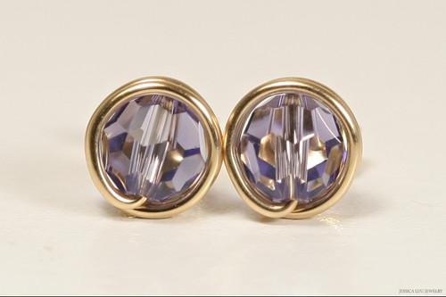 14K yellow gold filled wire wrapped tanzanite Swarovski crystal stud earrings handmade by Jessica Luu Jewelry