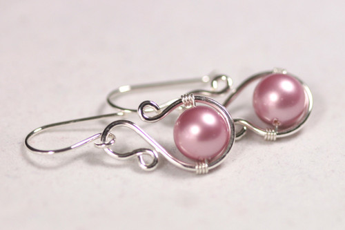 Sterling Silver Pink Pearl Dangle Earrings - Available with Matching Necklace