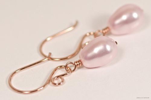 14K rose gold filled wire wrapped light pink rosaline Swarovski teardrop pearl dangle earrings handmade by Jessica Luu Jewelry