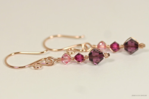 14K rose gold filled wire wrapped pink purple amethyst fuchsia Swarovski crystal dangle earrings handmade by Jessica Luu Jewelry
