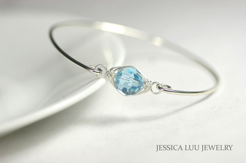 Sterling silver wire wrapped bangle bracelet with aquamarine Swarovski crystal handmade by Jessica Luu Jewelry