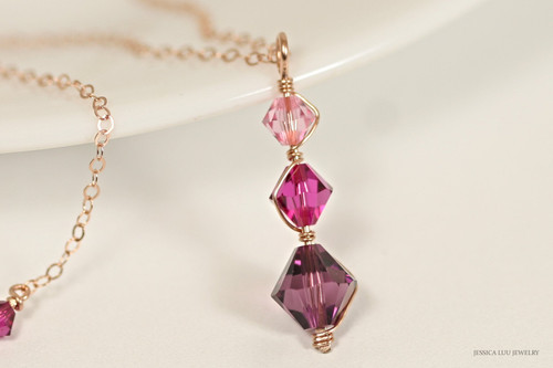 14K rose gold filled wire wrapped three stone light rose fuchsia amethyst pink purple Swarovski crystal pendant on chain necklace handmade by Jessica Luu Jewelry