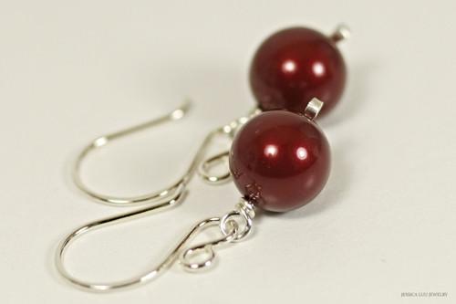Sterling silver wire wrapped dark red bordeaux Swarovski pearl dangle earrings handmade by Jessica Luu Jewelry