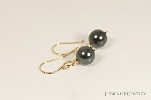 14K yellow gold filled wire wrapped black Swarovski pearl dangle earrings handmade by Jessica Luu Jewelry