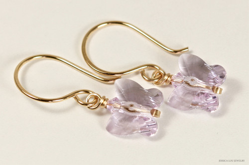 14K yellow gold filled wire wrapped light purple lavender violet Swarovski crystal butterfly dangle earrings handmade by Jessica Luu Jewelry