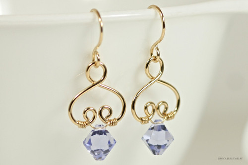 14K yellow gold filled wire wrapped Provence lavender Swarovski crystal dangle earrings handmade by Jessica Luu Jewelry