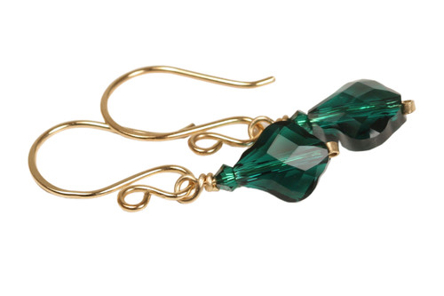 14K yellow gold filled wire wrapped emerald green Swarovski crystal baroque dangle earrings handmade by Jessica Luu Jewelry