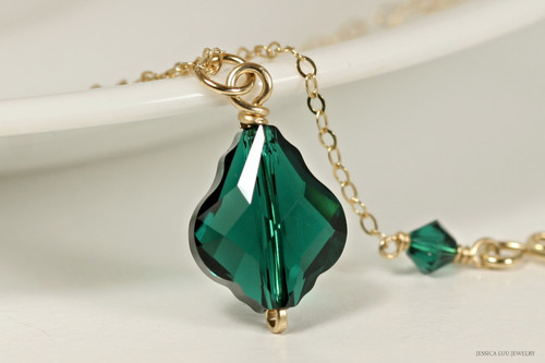 14K yellow gold filled emerald green Swarovski crystal baroque pendant on chain necklace handmade by Jessica Luu Jewelry