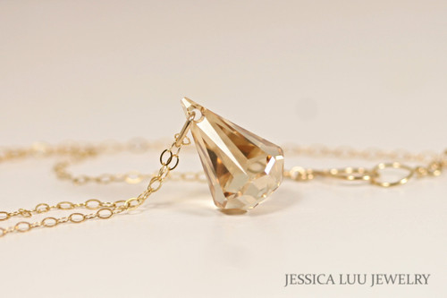 14K yellow gold filled golden shadow Swarovski crystal xirius raindrop pendant on chain necklace handmade by Jessica Luu Jewelry