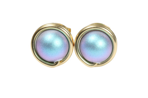 14K yellow gold filled wire wrapped stud earrings with iridescent light blue pearls handmade by Jessica Luu Jewelry