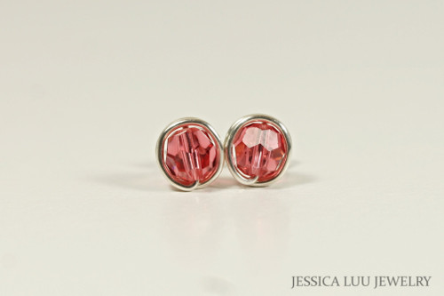 Sterling silver wire wrapped padparadscha salmon pink Swarovski crystal round stud earrings handmade by Jessica Luu Jewelry