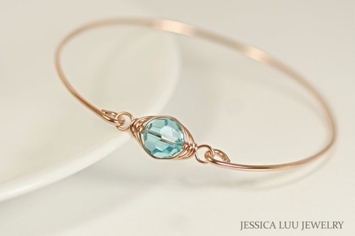 14k rose gold filled wire wrapped bangle bracelet with blue green aqua light turquoise Swarovski crystal handmade by Jessica Luu Jewelry