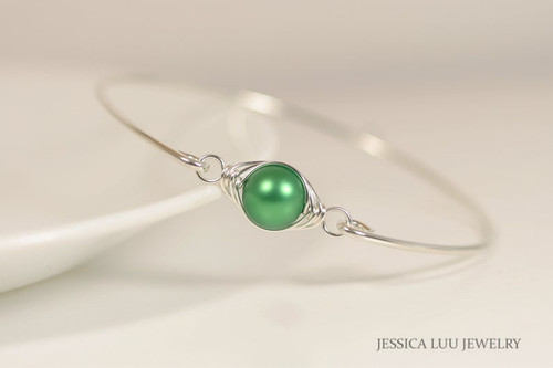 Sterling silver wire wrapped bangle bracelet with bright eden green Swarovski pearl handmade by Jessica Luu Jewelry