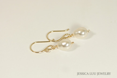 14K yellow gold filled wire wrapped cream ivory Swarovski pearl teardrop dangle earrings handmade by Jessica Luu Jewelry