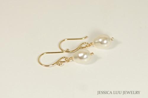 14K yellow gold filled wire wrapped cream ivory Swarovski pearl teardrop dangle earrings handmade by Jessica Luu Jewelry