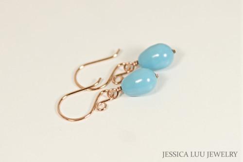 14K rose gold filled wire wrapped turquoise blue Swarovski teardrop pearl drop earrings handmade by Jessica Luu Jewelry