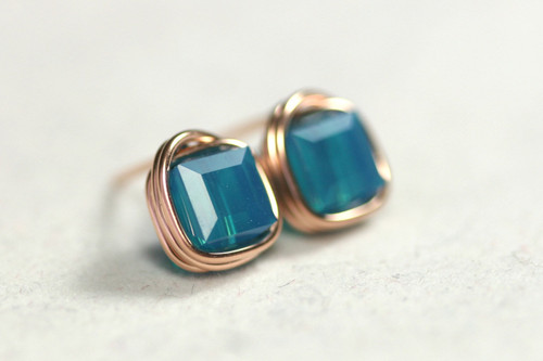 Rose Gold Caribbean Blue Opal Swarovski Crystal Stud Earrings - Available with Matching Necklace and Other Metal Options