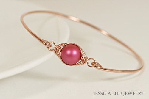 14k rose gold filled wire wrapped bangle bracelet with mulberry pink Swarovski pearl handmade by Jessica Luu Jewelry