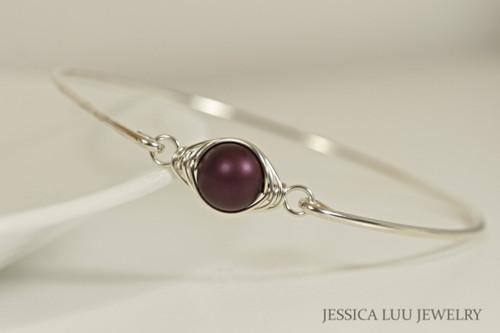 Sterling silver wire wrapped bangle bracelet with elderberry purple Swarovski pearl handmade by Jessica Luu Jewelry