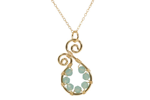 14K yellow gold filled wire wrapped small blue green Pacific opal Swarovski crystal paisley pendant on chain necklace handmade by Jessica Luu Jewelry