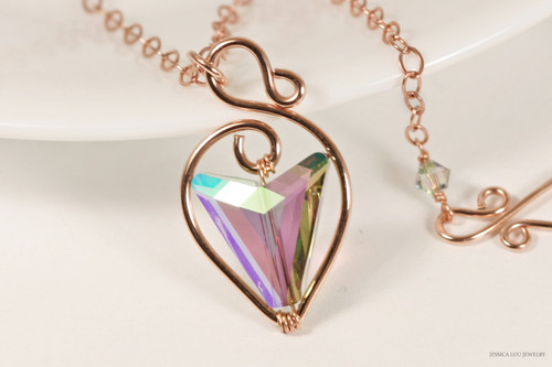 14K rose gold filled wire wrapped paradise shine Swarovski crystal arrow pendant on chain necklace handmade by Jessica Luu Jewelry