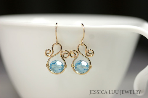 14K yellow gold filled wire wrapped aquamarine blue Swarovski crystal dangle earrings handmade by Jessica Luu Jewelry
