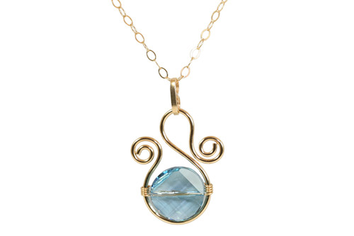 Gold Aquamarine Swarovski Crystal Necklace - Available with Matching Earrings
