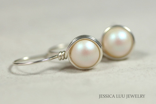Sterling silver wire wrapped pearlescent white Swarovski pearl drop earrings handmade by Jessica Luu Jewelry
