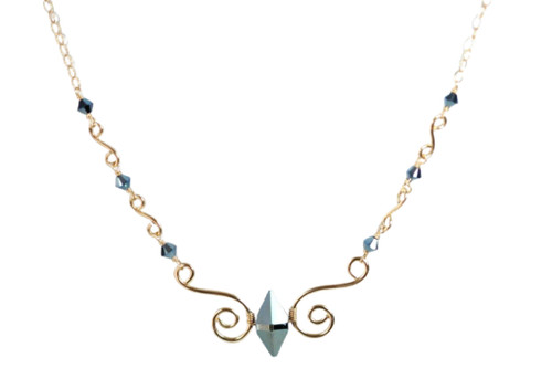 Gold Metallic Blue Swarovski Crystal Necklace
