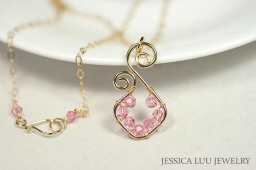 14K yellow gold filled wire wrapped light rose pink small Swarovski crystal pendant necklace handmade by Jessica Luu Jewelry