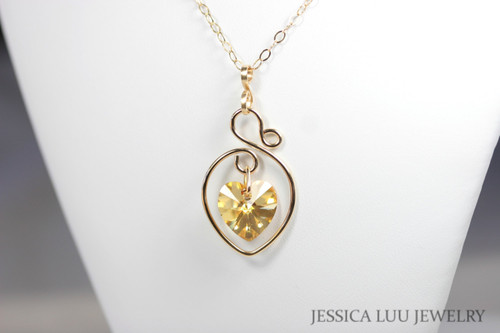 14K yellow gold filled metallic sunshine Swarovski crystal heart pendant on chain necklace handmade by Jessica Luu Jewelry