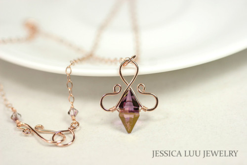 14K rose gold filled wire wrapped lilac shadow purple Swarovski crystal double spike pendant on chain necklace handmade by Jessica Luu Jewelry