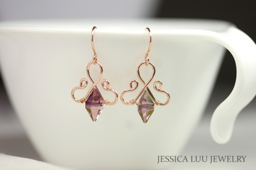 14K rose gold filled wire wrapped lilac shadow purple Swarovski crystal spike bead dangle earrings handmade by Jessica Luu Jewelry