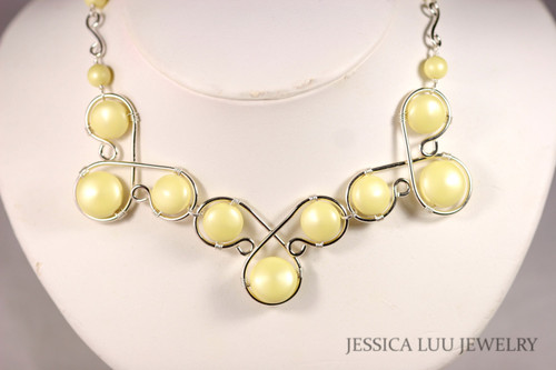 Sterling silver wire wrapped light pastel yellow Swarovski flat coin pearl statement necklace handmade by Jessica Luu Jewelry